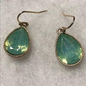 Aquamarine and gold pendant drop earrings